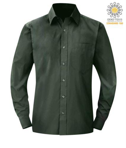 Camicia verde da lavoro per uomo a manica lunga