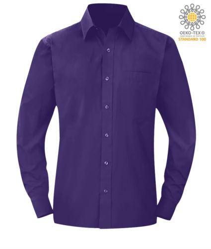 Camicia da divisa colore viola a manica lunga