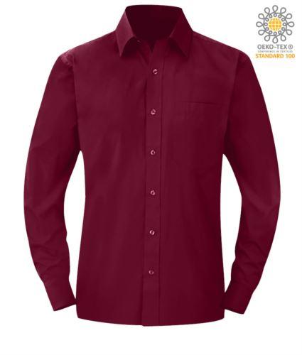 Camicia da uomo da lavoro a manica lunga colore vinaccia