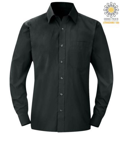Camicia da lavoro a manica lunga colore grigio scuro da uomo