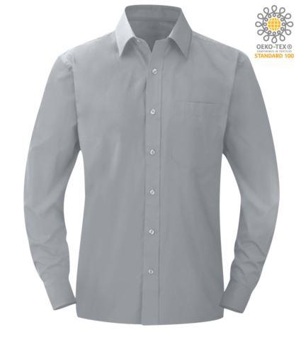 Camicia da lavoro a manica lunga colore grigio chiaro da uomo