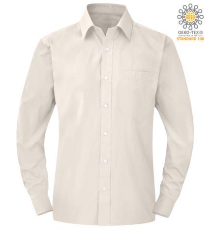 Camicia da lavoro a manica lunga colore angora da uomo