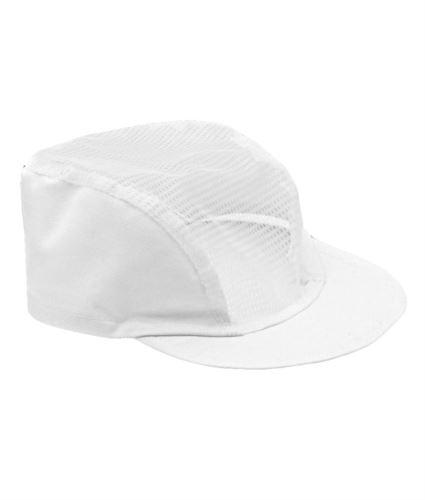 Cappellino da cuoco, visiera rigida con copricapo in rete, elastico alla nuca, colore bianco