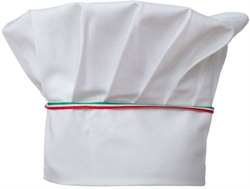Cappello da cuoco, doppia fascia di tessuto con parte superiore inserita e cucita a pieghette, colore bianco tricolore