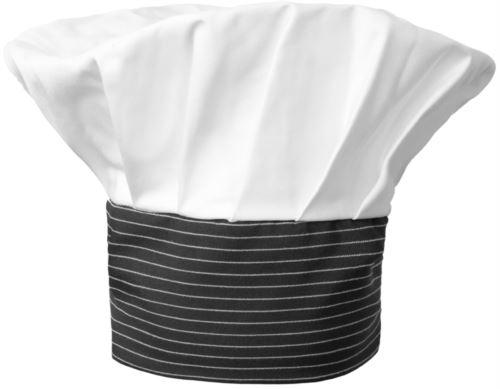 Cappello da cuoco, doppia fascia di tessuto con parte superiore inserita e cucita a pieghette, colore bianco gessato nero