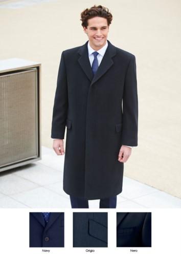 Cappotto in lana, caschemere e poliamide, colori navy, grigio, nero. Ideale per uniformi di portierato, hotel, receptionist. Ottieni un preventivo gratuito.