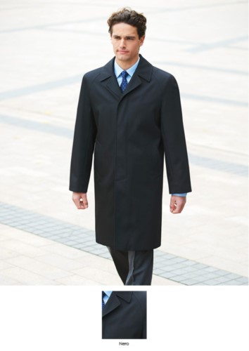 Cappoto colore nero in poliestere e lana, con trattamento antimacchia. Ideale per uniformi di portierato, hotel, receptionist. Ottieni un preventivo gratuito.