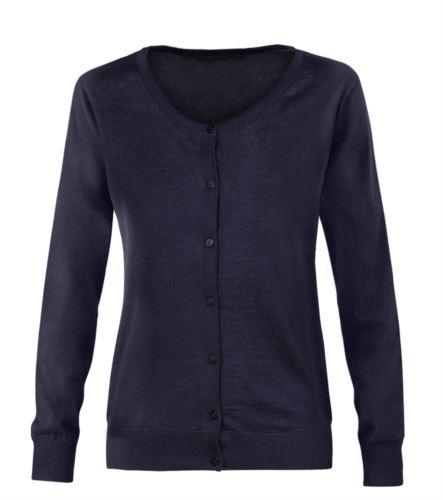 Cardigan donna con girocollo, costine sul collo polsini e bordo inferiore, abbottonatura frontale, tessuto lana e poliacrilico. Colore blu navy