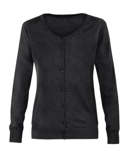 Cardigan donna con girocollo, costine sul collo polsini e bordo inferiore, abbottonatura frontale, tessuto lana e poliacrilico. Colore grigio scuro