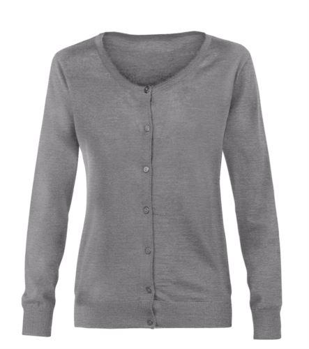 Cardigan donna con girocollo, costine sul collo polsini e bordo inferiore, abbottonatura frontale, tessuto lana e poliacrilico. Colore grigio chiaro