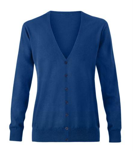 Cardigan donna con scollo a V, costine sul collo e polsini, apertura centrale, tessuto cotone e acrilico. Colore blu royal