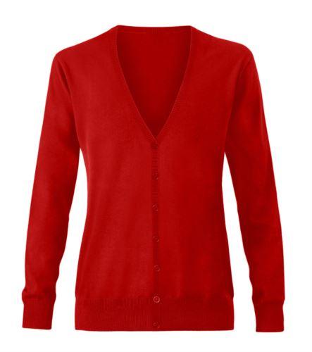 Cardigan donna con scollo a V, costine sul collo e polsini, apertura centrale, tessuto cotone e acrilico. Colore rosso