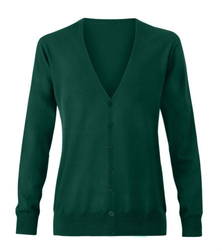 Cardigan donna con scollo a V, costine sul collo e polsini, apertura centrale, tessuto cotone e acrilico. Colore verde bottiglia