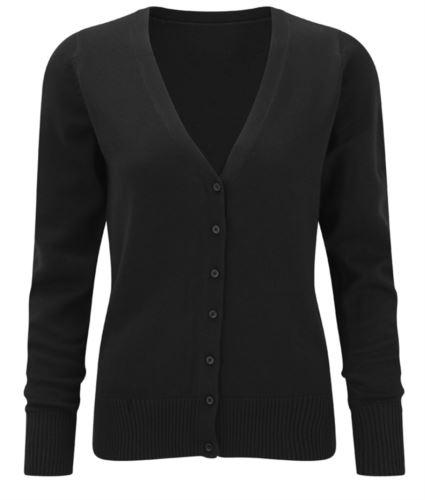 Cardigan donna con scollo a V, modello taglio classico, costine sul collo e polsini, apertura centrale, tessuto cotone e acrilico, colore grigio