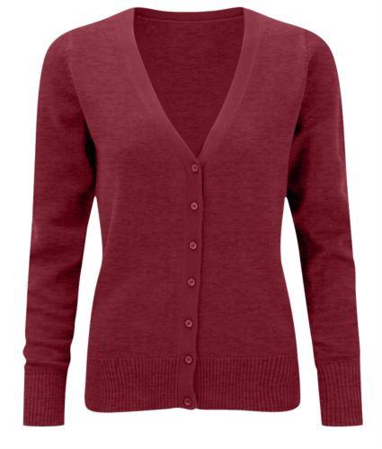 Cardigan donna con scollo a V, modello taglio classico, costine sul collo e polsini, apertura centrale, tessuto cotone e acrilico, colore bordeaux