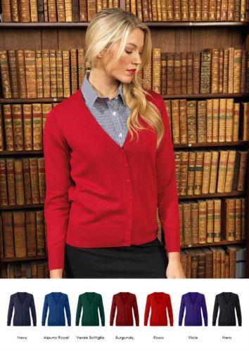 Cardigan donna con scollo a V, costine sul collo e polsini, apertura centrale, tessuto cotone e acrilico.