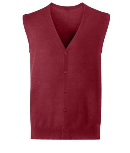 Cardigan unisex con scollo a V, taglio classico, colore bordeaux, tessuto cotone e acrilico. Vendita all'ingrosso di divise eleganti da lavoro.