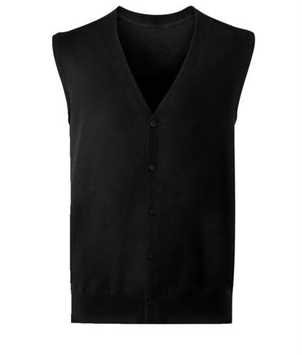 Cardigan unisex con scollo a V, taglio classico, colore nero, tessuto cotone e acrilico. Vendita all'ingrosso di divise eleganti da lavoro.