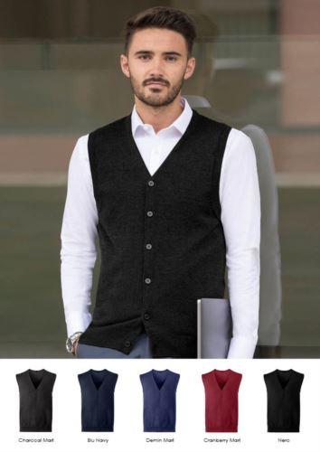 Cardigan unisex con scollo a V, taglio classico, tessuto cotone e acrilico. Vendita all'ingrosso di divise eleganti da lavoro.