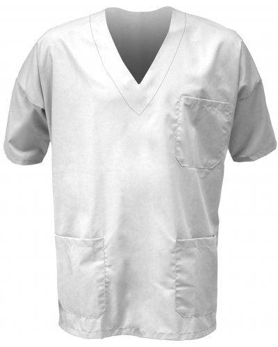 Casacca ospedaliera unisex, collo a V, maniche corte, taschino torace sinistro e tasca anteriore destra applicati, colore bianco