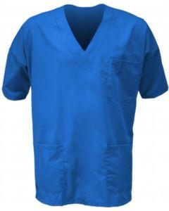 Casacca ospedaliera unisex, collo a V, maniche corte, taschino torace sinistro e tasca anteriore destra applicati, colore bluette