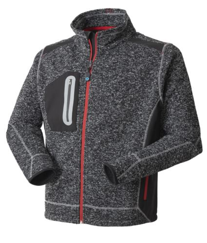 Felpa Knitted Fleece zip lunga, colore grigio melange