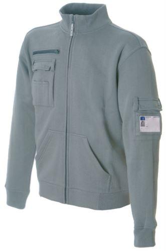 Felpa da lavoro da uomo a zip lunga colore grigio in cotone e poliestere