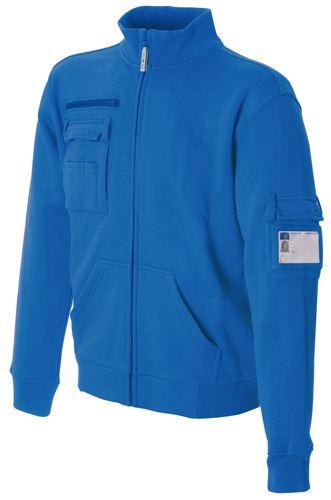 Felpa da lavoro a zip lunga collo a lupetto colore azzurro in cotone e poliestere