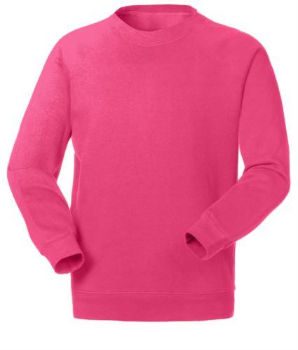 Felpa da lavoro girocollo colore fucsia in poliestere e cotone, divise professionali, ingrosso abbigliamento promozionale, uniformi da lavoro