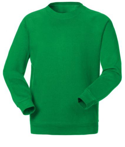 Felpa da lavoro girocollo colore verde in poliestere e cotone, divise personalizzate, felpe professionali Lombardia, abbigliamento promozionale