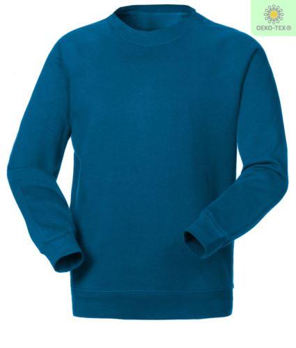 Felpa da lavoro colore azzurro a girocollo in poliestere e cotone