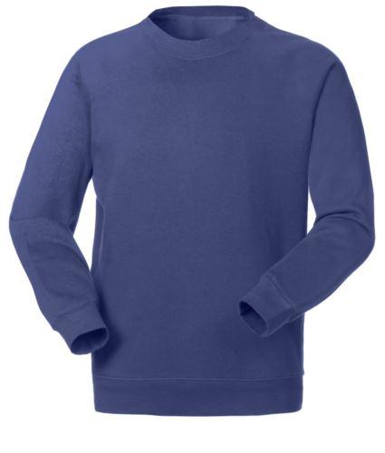 Felpa da lavoro per uso promozionale colore indigo blu a girocollo, divise lavoro, stampa felpe promozionali, indumenti promozionali