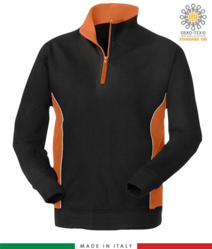 felpa promozionale da lavoro in poliestere e cotone colore nero con fascia arancione