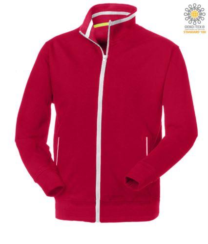 felpe da lavoro a zip lunga colore rosso con tasche laterali