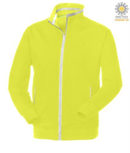felpa da lavoro per uomo a zip lunga colore giallo con tasche a zip
