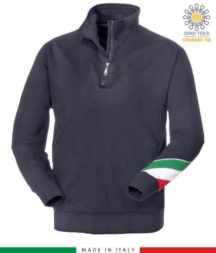 felpa da lavoro a zip corta made in Italy all'ingrosso colore blu tricolore