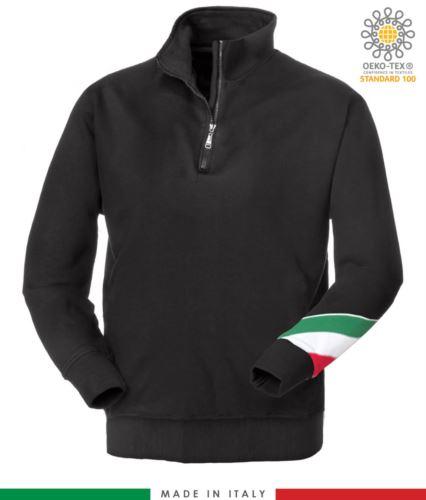 felpa da lavoro a zip corta made in Italy all'ingrosso colore nero tricolore