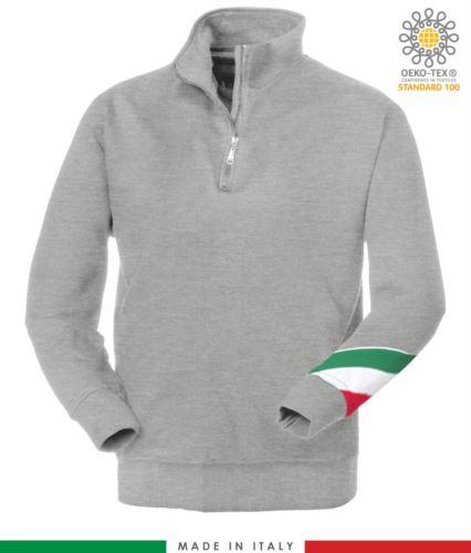 felpa da lavoro a zip corta made in Italy all'ingrosso colore grigio melange con tricolore