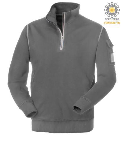 felpa da lavoro a zip corta colore grigio con collo a lupetto| vendita all'ingrosso
