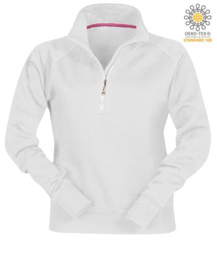 Felpa bianca da lavoro da donna a zip corta personalizzabile con logo
