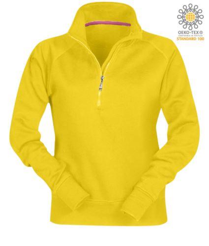 Felpa da donna colore giallo a zip corta personalizzabile