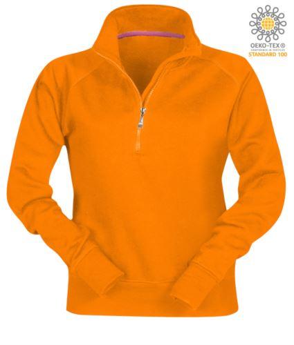 Felpa da donna a zip corta colore arancione personalizzabile