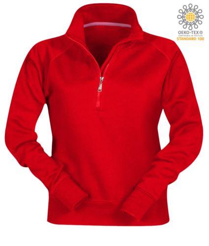 felpa rossa da lavoro da donna modello a zip corta personalizzabile
