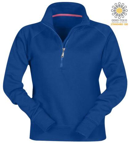 Felpa invernale da lavoro da donna a zip corta colore azzurro
