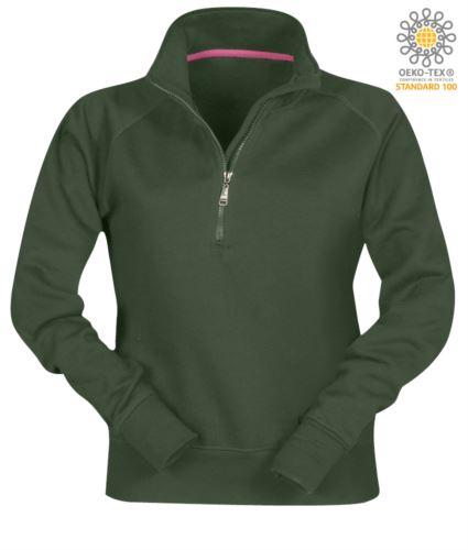 felpa da lavoro verde da donna con zip corta personalizzabile con logo