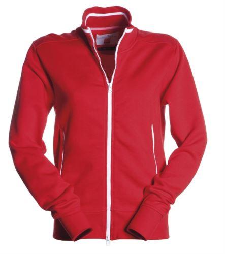 Felpe da lavoro a zip lunga colore rosso con tasche laterali da donna