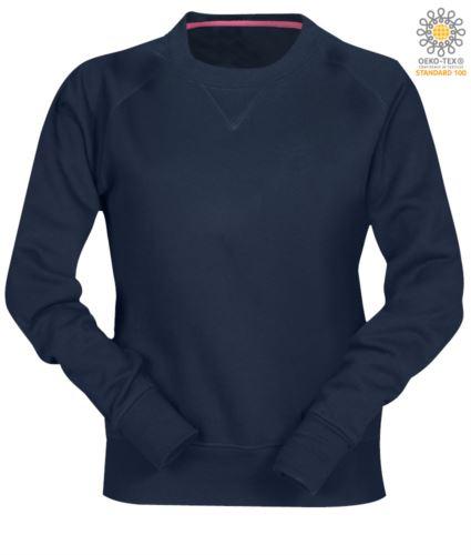 felpa blu da lavoro a girocollo modello da donna in poliestere e cotone