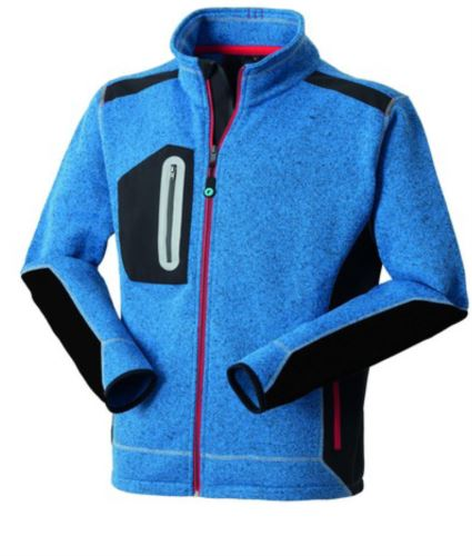 Felpa Knitted Fleece zip lunga, azzurro royal