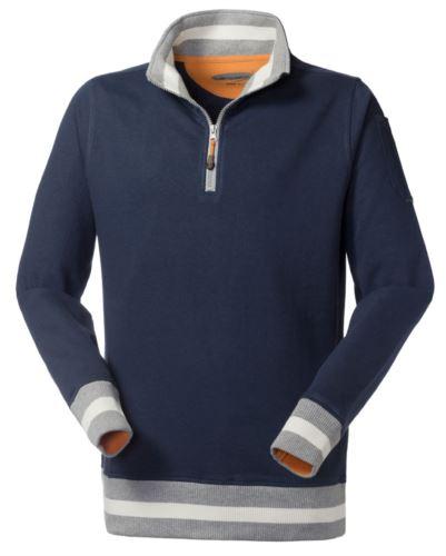 Felpa da lavoro per uso promozionale con zip corta colore blu navy