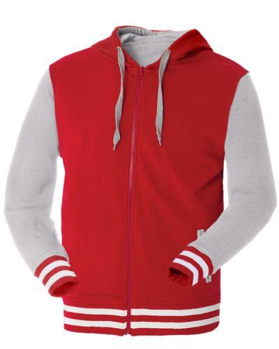 felpa da lavoro bicolore rosso e grigio a zip lunga in poliestere e cotone